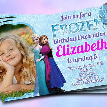 Frozen Custom Photo Design For Birthday Invitation on SaphireInvitations