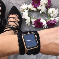 The Kristi II Suede Braided Wrap Apple Watch Band