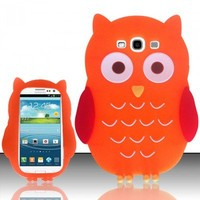 SAMSUNG GALAXY S3 S III SOFT COVER PHONE SKIN CASE 3D ORANGE FAT OWL CARTOON