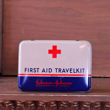 Vintage First Aid Travelkit, Red Cross First Aid Box, Johnson and Johnson, New Brunswick NJ, Chicago ILL