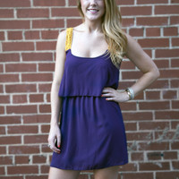 Game Day Dress in Purple and Gold