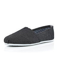 River Island MensBlack denim slip on plimsolls