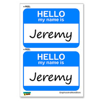 Jeremy Hello My Name Is - Sheet of 2 Stickers