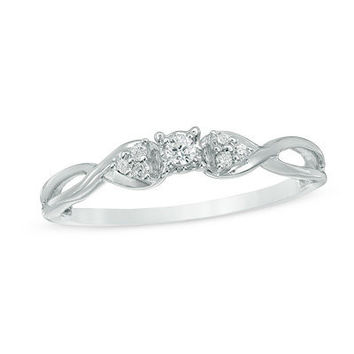 Diamond Accent Crossover Promise Ring in 10K White Gold - Save on Select Styles - Zales