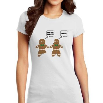 DCCKHD9 Funny Gingerbread Conversation Christmas Juniors T-Shirt