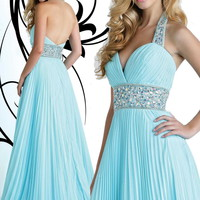 A-line Straps Floor-length Chiffon Popular Prom Dress with Rhinestone at Msdressy