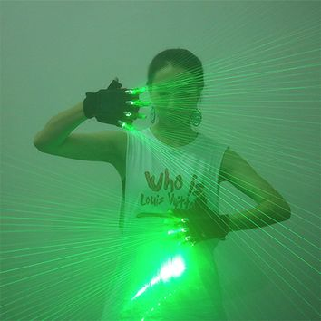 LED Laser Gloves Green Light Dancing Stage Show DJ Club Party Cosplay Gloves 20 Beams To 100 Beams