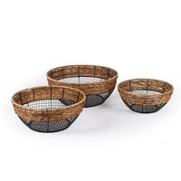 Set of 3 Round Wire Storage Baskets