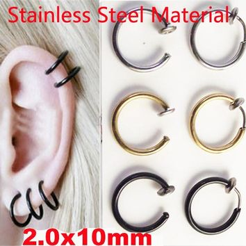 1pcs  Nostril  Gold Silver Black Stainless steel Fake Nose Hoop Nose Rings Clip Lip Ear Piercing Rings Earrings Punk Goth Septum