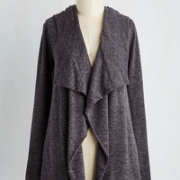 Mid-length Long Sleeve Chill You Be Mine? Cardigan in Charcoal