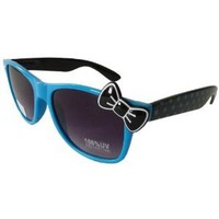 Hello Kitty Polka Dot Style Designer Inspired Wayfer Retro Sunglasses - Blue/Black with Black Bow