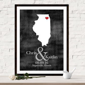 Custom Wedding Map - Wedding Guest Book Alternative - Choice of Print or Canvas