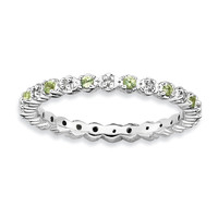 Sterling Silver Stackable Expressions Peridot & Diamond Ring