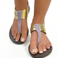 Summer Raindrops Purple Wired Tribal Ankle Sandals