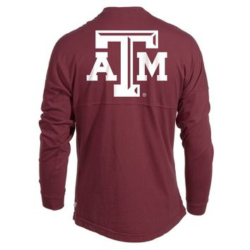 White Official NCAA Texas Aandm University Aggies Reveille Gig Em Women's Long Sleeve Spirit Wear Jersey T-Shirt
