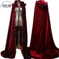 2018 Newest Red Cloak Hood Long Red Cloak For Adult Winter Princess Snow White Belle Aurora Princess Cosplay Cloak Halloween