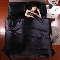 satin Silk feeling bedding set  3/4pcs silk Bedding set.bed linen Bedclothes/bed sheet duvet cover set