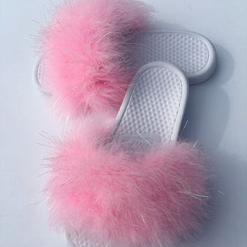 Nike Candy Pink and white faux fur  slides