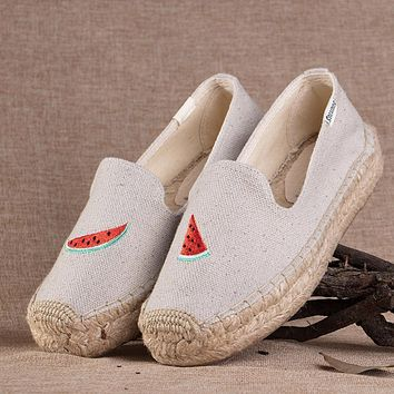 Soludos Watermelon Platform Smoking Embroidery Slipper Thick-bottomed Beige