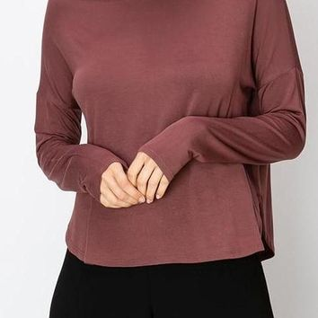 Lena Modal Long Sleeve Tee in Marsala
