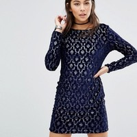 Motel Gabby Dress In Art Deco Sequin With Plunge Back at asos.com