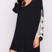 Casual Black Chiffon Floral Lace Flared Long Sleeve V-Neck Mini Dress