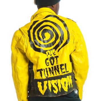 Vintage 90's I've Got Tunnel Vision Hand Panted Leather Jacket - M/L