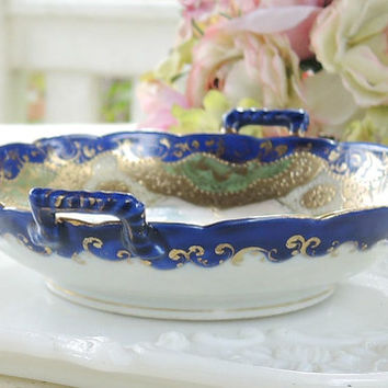 Gorgeous Antique Asian Scalloped Gold Gilt Candy Dish, Hand Painted, French Shabby Chic, Cottage Style