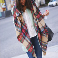 Mad for Plaid Blanket Scarf - Red/Multi