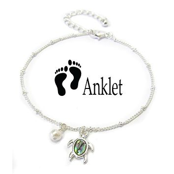 Abalone Charm Turtle Anklet