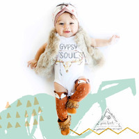 GYPSY SOUL skull antlers feather baby Onesuit® creeper one piece boho arrows baby clothes / Baby Shower Gift / Newborn Onesuit®