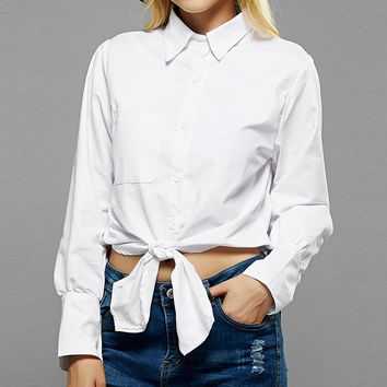 Women Blouses White Shirts 2017 Long Sleeve Turn Down Collar Button Casual Solid Tops Short Shirts B