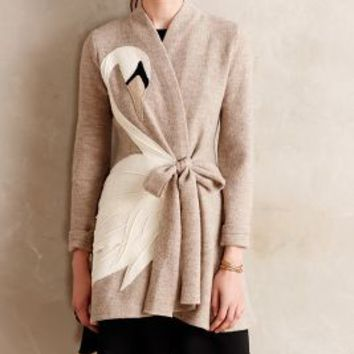 Swan Applique Sweatercoat by Rosie Neira Neutral Motif