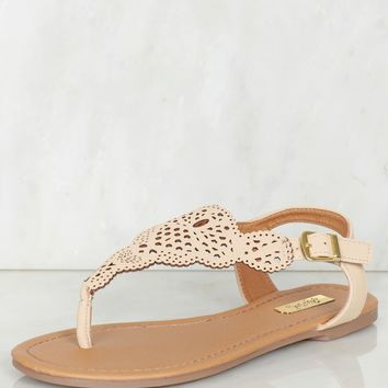 Cut Out Thong Sandal Nude