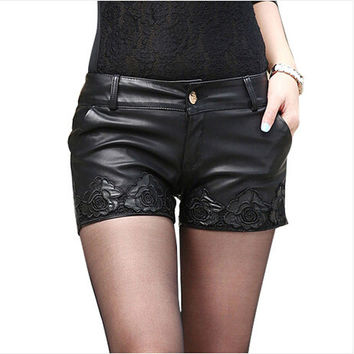 2015 Women Shorts Black Ploy Urethane Womens Shorts Printing Leather Shorts Sexy Mini Shorts