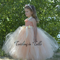 Peach Beige Tulle Flower Girl Dress Size 2-4T