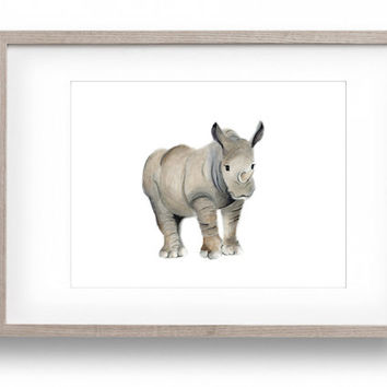 Safari Nursery Art, Rhino, Jungle Nursery, Rhinoceros, Baby Animal Painting, Animal Nursery, Baby Wall Decor, Kids Room Print, Toddler Art