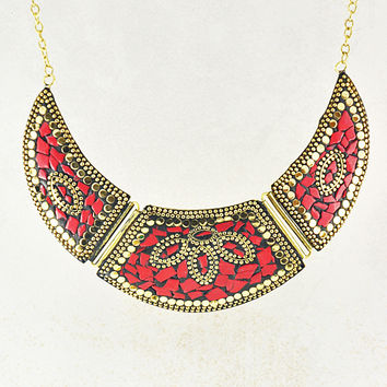 Tibetan Mosaic Collar Necklace In Gold