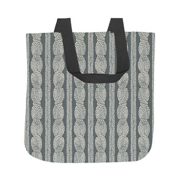 Cable Row Grey Tote Bag