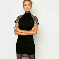 Puma Women Black Mesh Splicing Dress