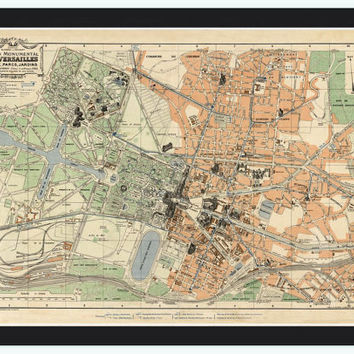 Old Map of Versailles  France 1927