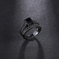 2017 Fashion Style Jewelry Gorgeous Black Cutting Stone Crystal Ring Sets Engagement Rings For Women  Black Gold Filled Jewelry