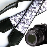Giraffe camera strap. Black and white Camera strap. DSLR / SLR Camera Strap. Camera accessories. Nikon Canon Fuji camera strap.