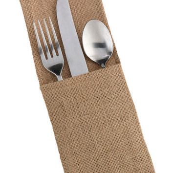 Burlap Silverware Holder Rustic Wedding