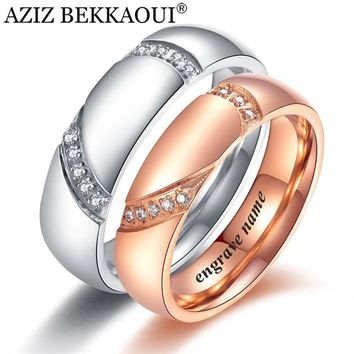 AZIZ BEKKAOUI Crystal Heart Couple Rings Engrave Name Wedding Rings Stainless Steel Engagement Lover Party Jewelry Drop shipping