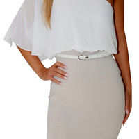 Hovercraft (Ivory/Beige)-Great Glam is the web's best online shop for trendy club styles, fashionable party dresses and dress wear, super hot clubbing clothing, stylish going out shirts, partying clothes, super cute and sexy club fashions, halter and tube