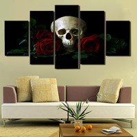 Printed Rose Skull Canvas Painting