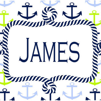 Preppy Anchor Room Sign. Great baby or birthday gift for the little Sailor!  Nursery or beach house sign. Choose monogram or full name. 5x7