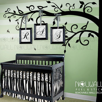 Corner Tree Wall Decal Baby Nursery Birds Decals Sticker Home