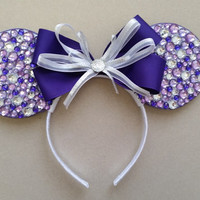 "Purple ""Diamond Collection"" Minnie/ Mickey Mouse Ears"
